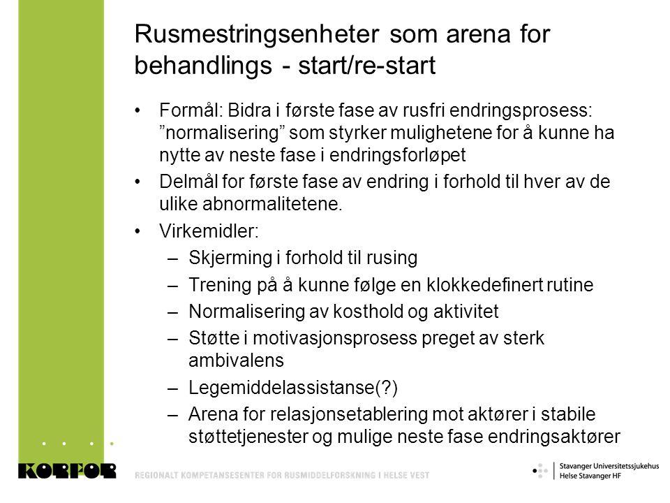 Rusmestringsenheter som arena for behandlings - start/re-start