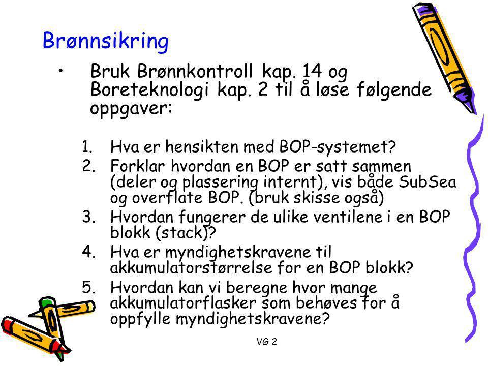 Brønnsikring Bruk Brønnkontroll kap. 14 og Boreteknologi kap. 2 til å løse følgende oppgaver: Hva er hensikten med BOP-systemet