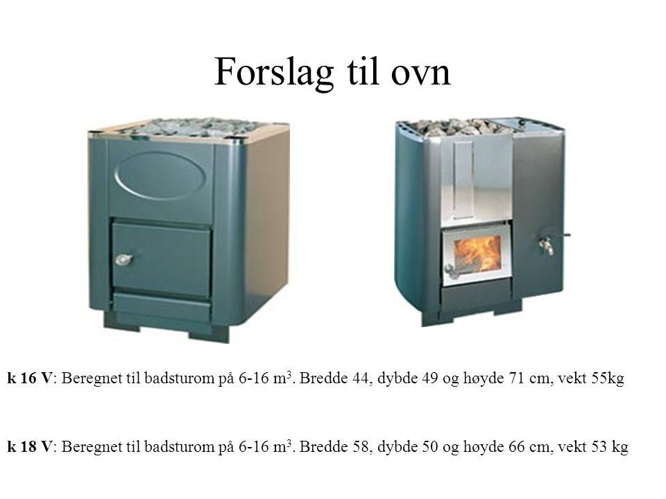 Forslag til ovn k 16 V: Beregnet til badsturom på 6-16 m3. Bredde 44, dybde 49 og høyde 71 cm, vekt 55kg.