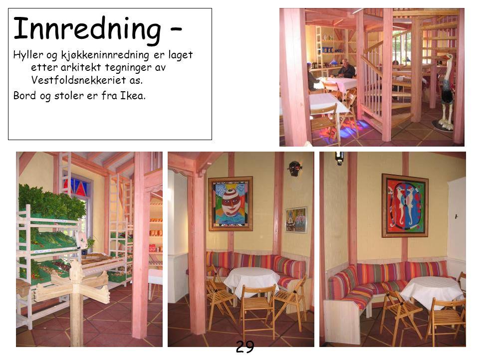Innredning – Hyller og kjøkkeninnredning er laget etter arkitekt tegninger av Vestfoldsnekkeriet as.