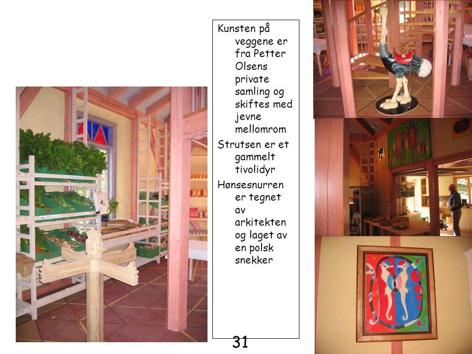 Kunsten på veggene er fra Petter Olsens private samling og skiftes med jevne mellomrom