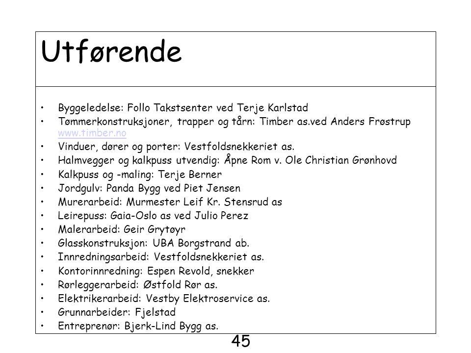 Utførende 45 Byggeledelse: Follo Takstsenter ved Terje Karlstad