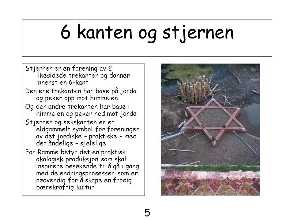 6 kanten og stjernen Stjernen er en forening av 2 likesidede trekanter og danner innerst en 6-kant.