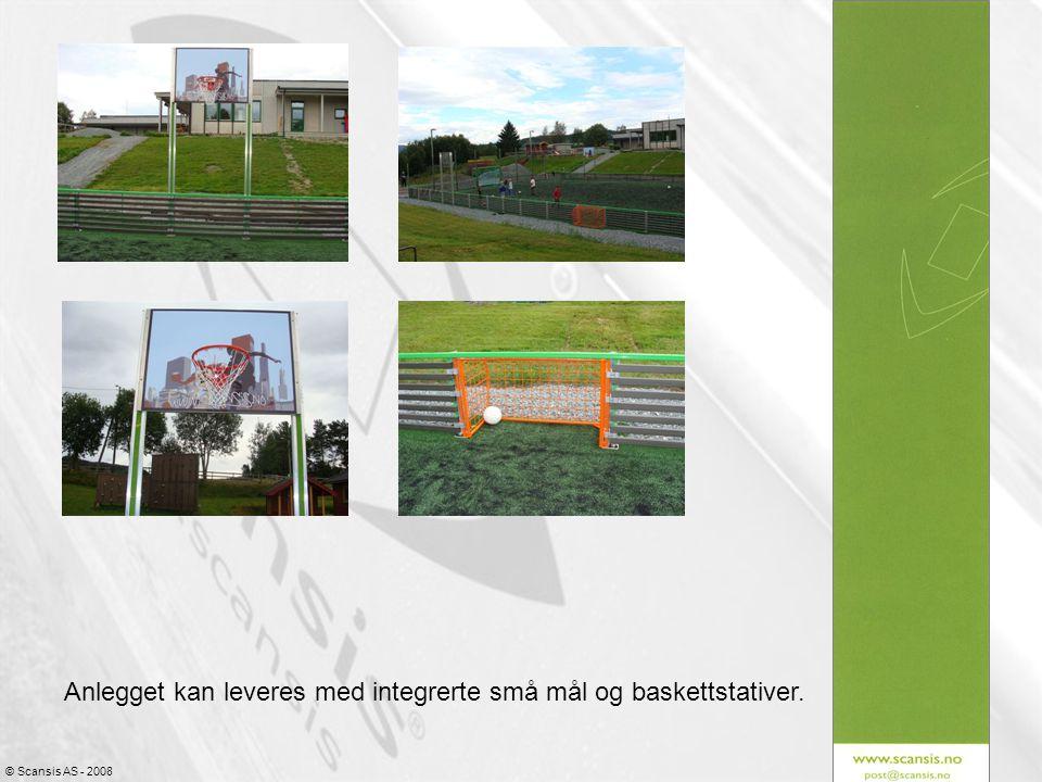 Anlegget kan leveres med integrerte små mål og baskettstativer.