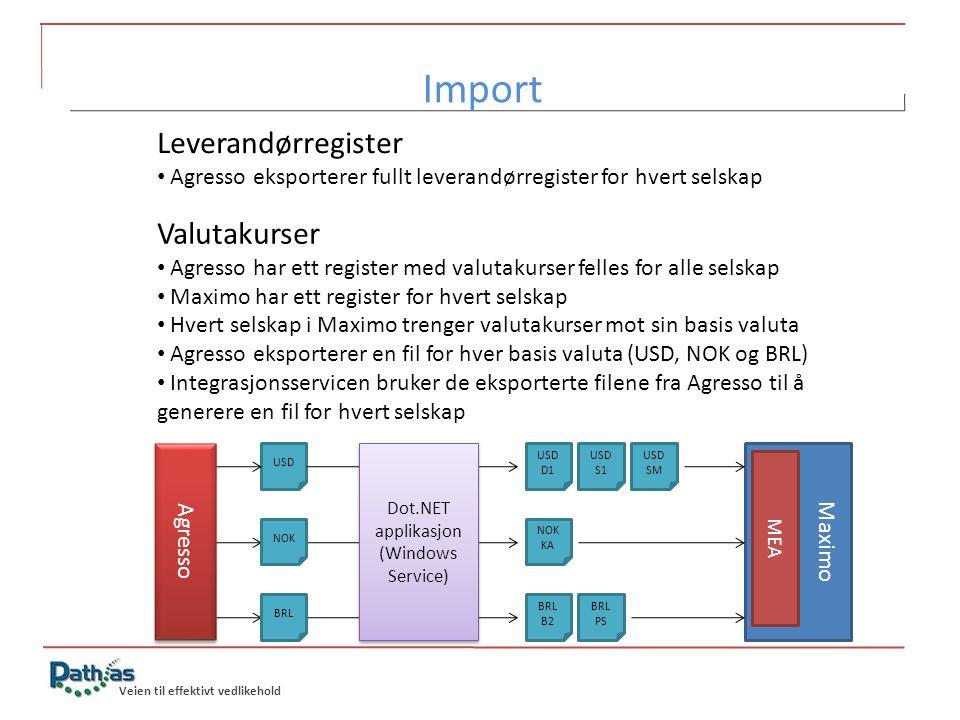 Import Leverandørregister Valutakurser