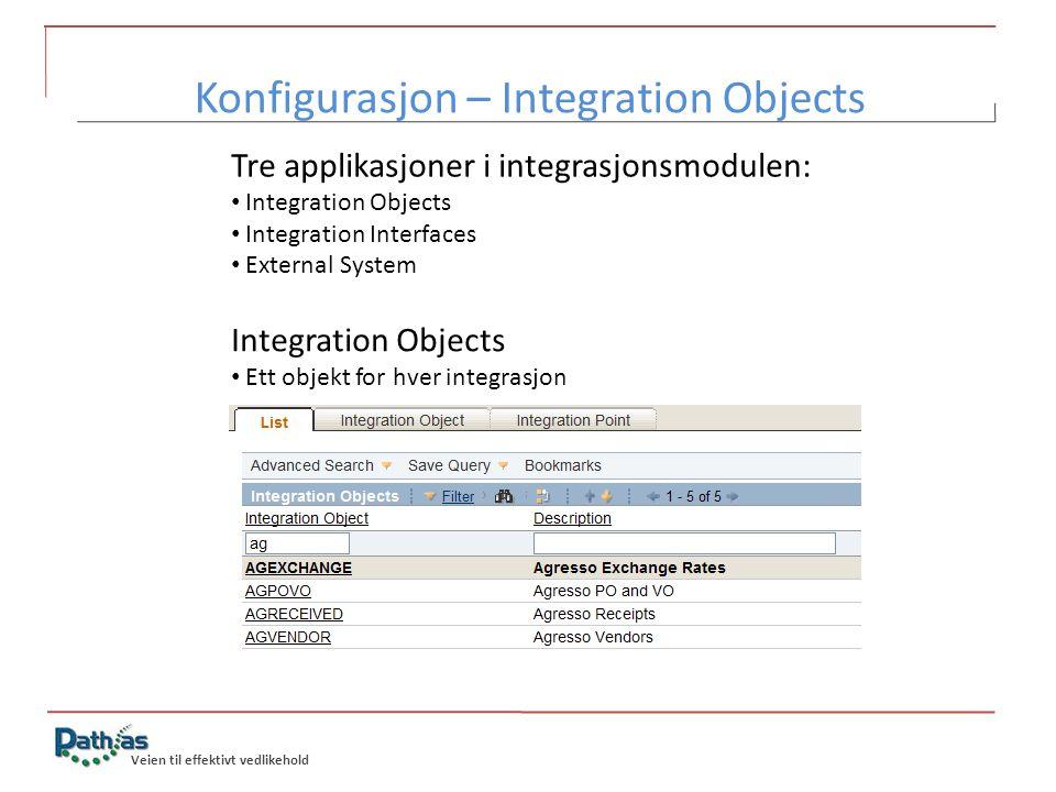 Konfigurasjon – Integration Objects