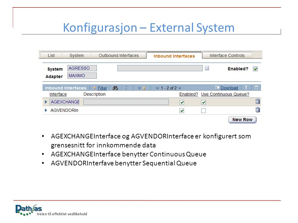 Konfigurasjon – External System