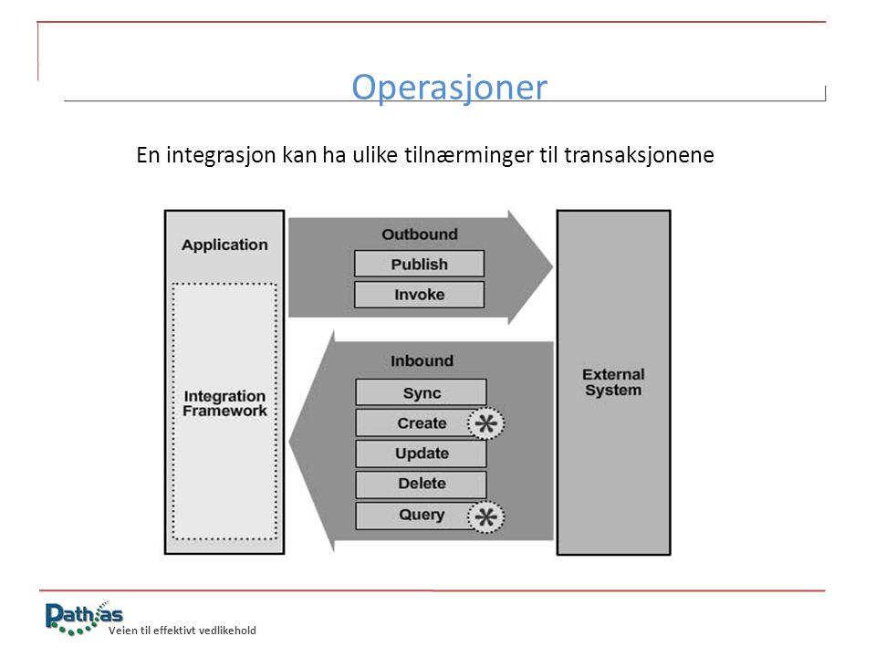 Operasjoner En integrasjon kan ha ulike tilnærminger til transaksjonene.