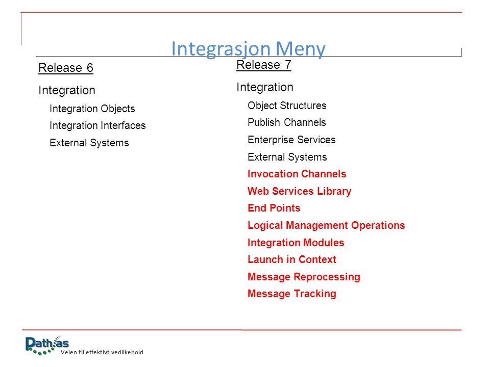 Integrasjon Meny Release 7 Release 6 Integration Integration