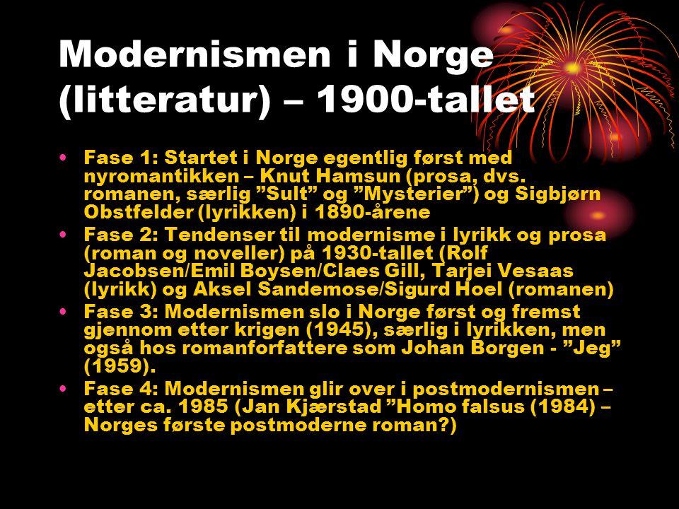 Modernismen i Norge (litteratur) – 1900-tallet