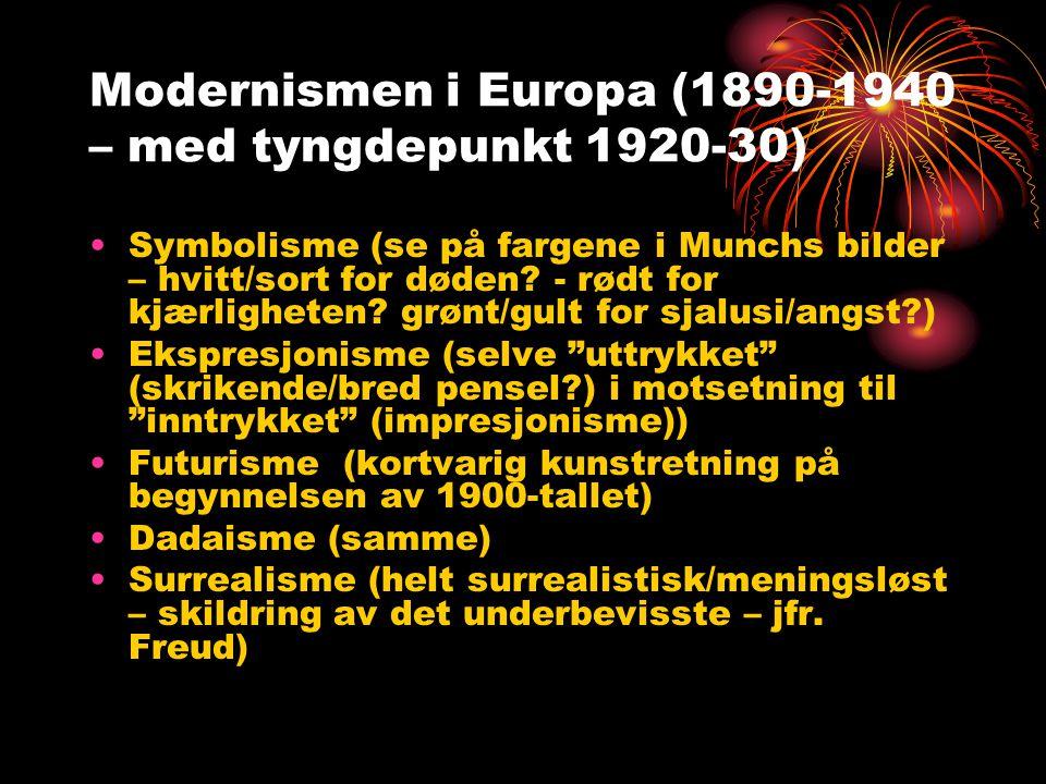 Modernismen i Europa (1890-1940 – med tyngdepunkt 1920-30)