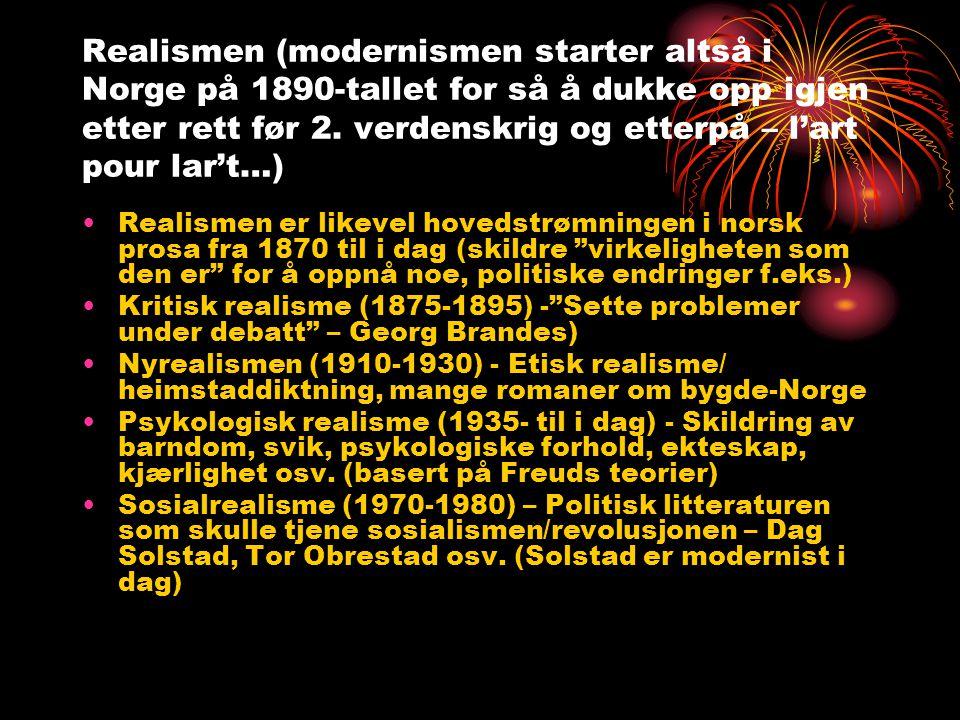 Realismen (modernismen starter altså i Norge på 1890-tallet for så å dukke opp igjen etter rett før 2. verdenskrig og etterpå – l'art pour lar't…)