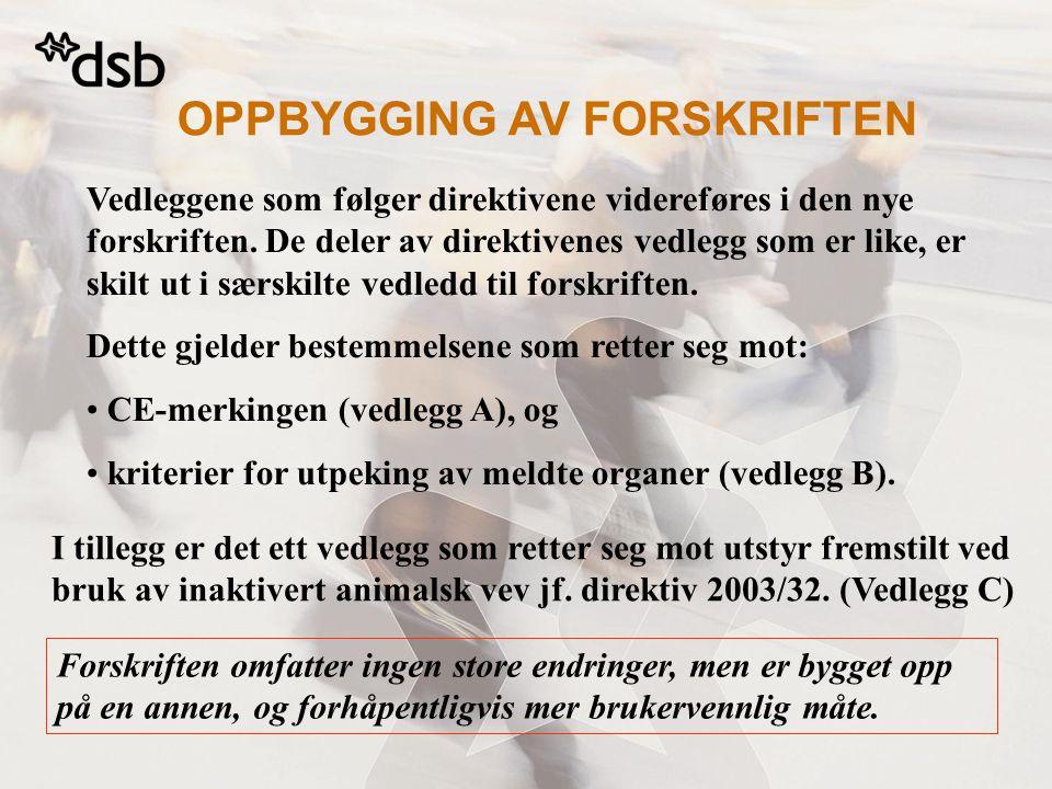 OPPBYGGING AV FORSKRIFTEN