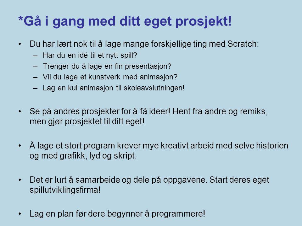 *Gå i gang med ditt eget prosjekt!