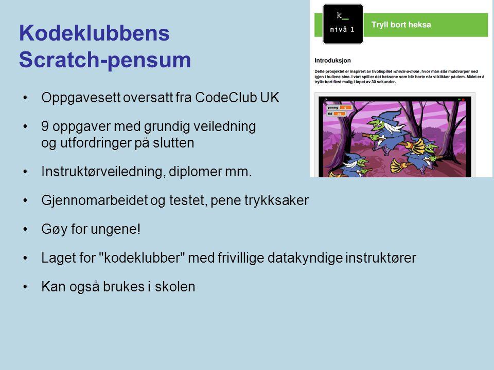 Kodeklubbens Scratch-pensum