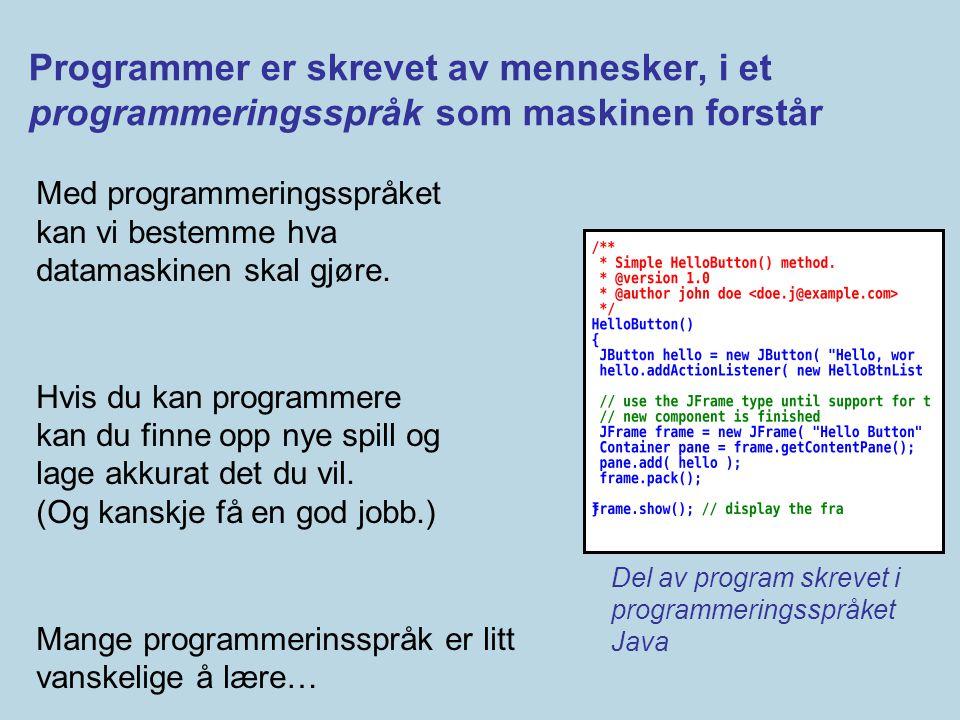 Programmer er skrevet av mennesker, i et programmeringsspråk som maskinen forstår