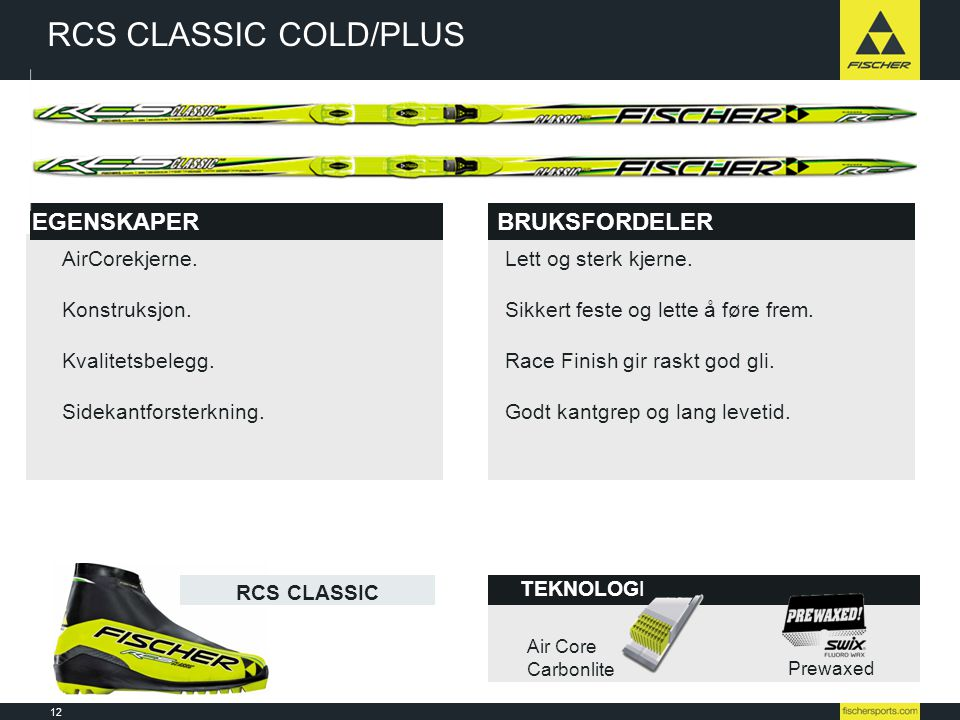 RCS CLASSIC COLD/PLUS EGENSKAPER BRUKSFORDELER AirCorekjerne.