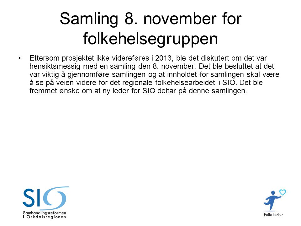 Samling 8. november for folkehelsegruppen