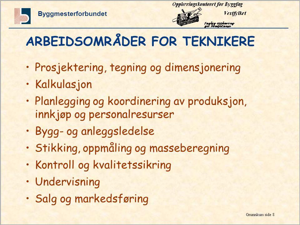 ARBEIDSOMRÅDER FOR TEKNIKERE