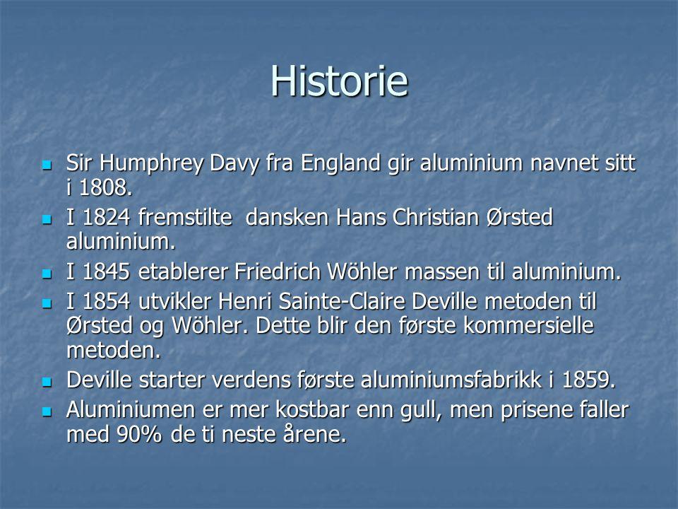 Historie Sir Humphrey Davy fra England gir aluminium navnet sitt i 1808. I 1824 fremstilte dansken Hans Christian Ørsted aluminium.