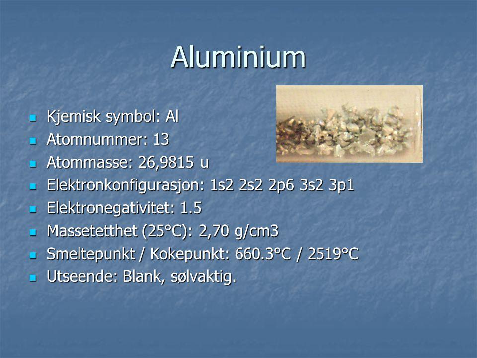 Aluminium Kjemisk symbol: Al Atomnummer: 13 Atommasse: 26,9815 u