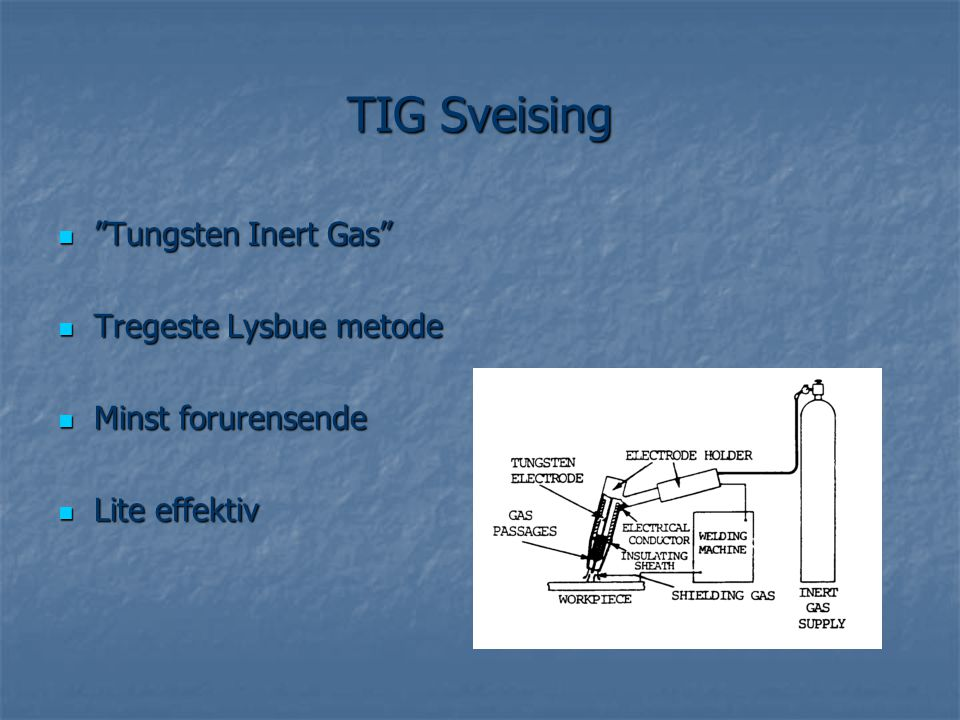 TIG Sveising Tungsten Inert Gas Tregeste Lysbue metode