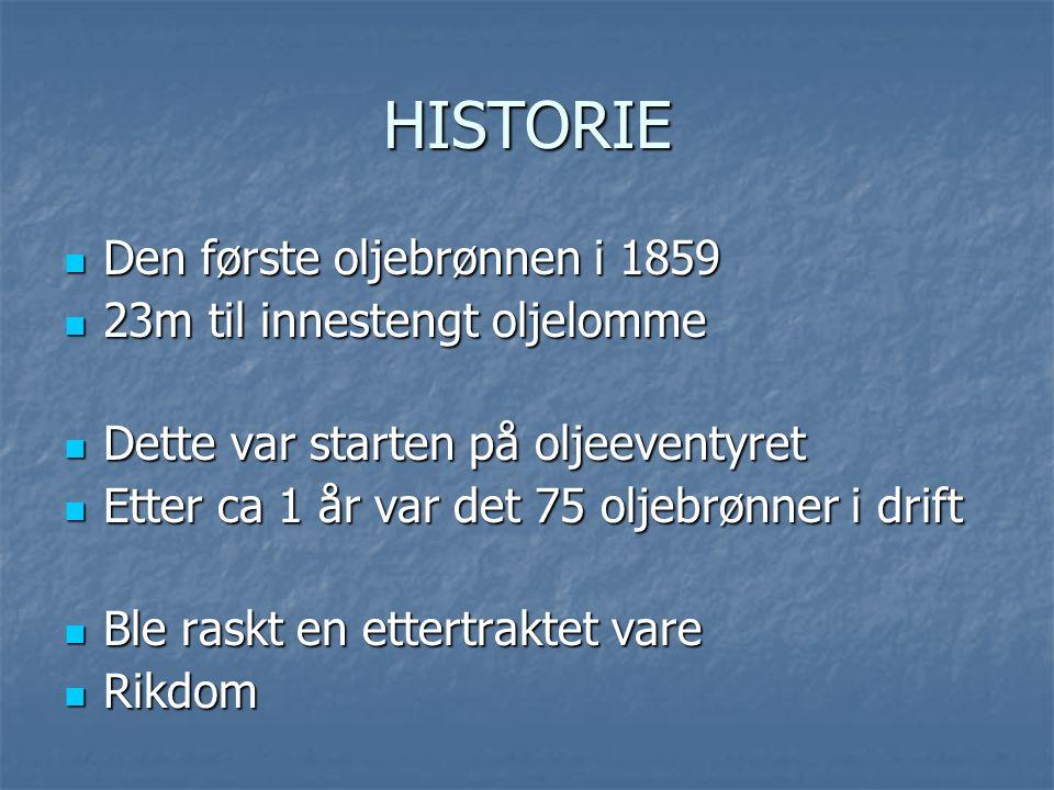 HISTORIE Den første oljebrønnen i 1859 23m til innestengt oljelomme