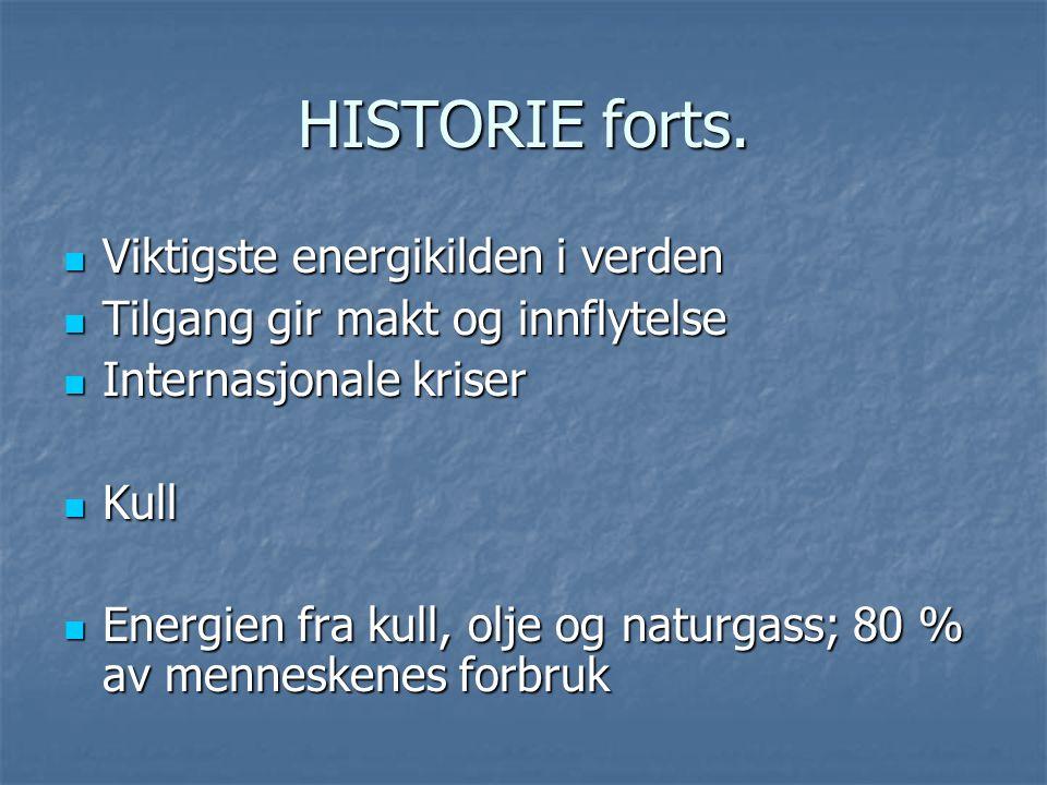 HISTORIE forts. Viktigste energikilden i verden