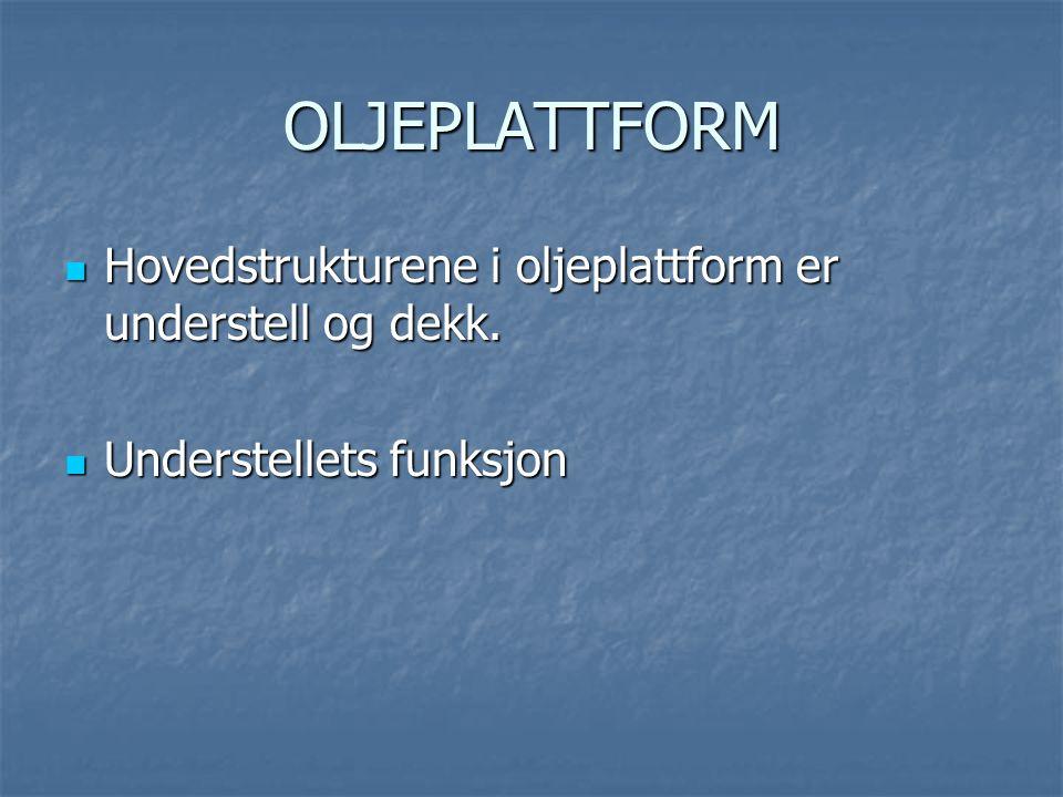 OLJEPLATTFORM Hovedstrukturene i oljeplattform er understell og dekk.