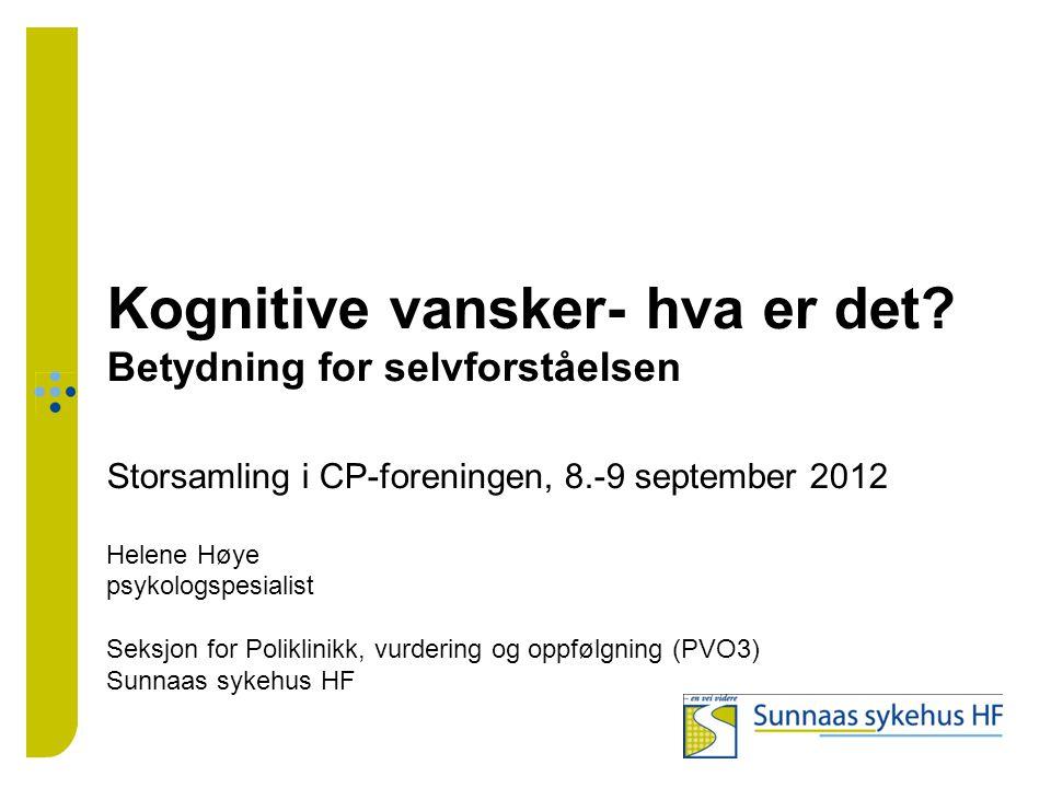 Kognitive vansker- hva er det