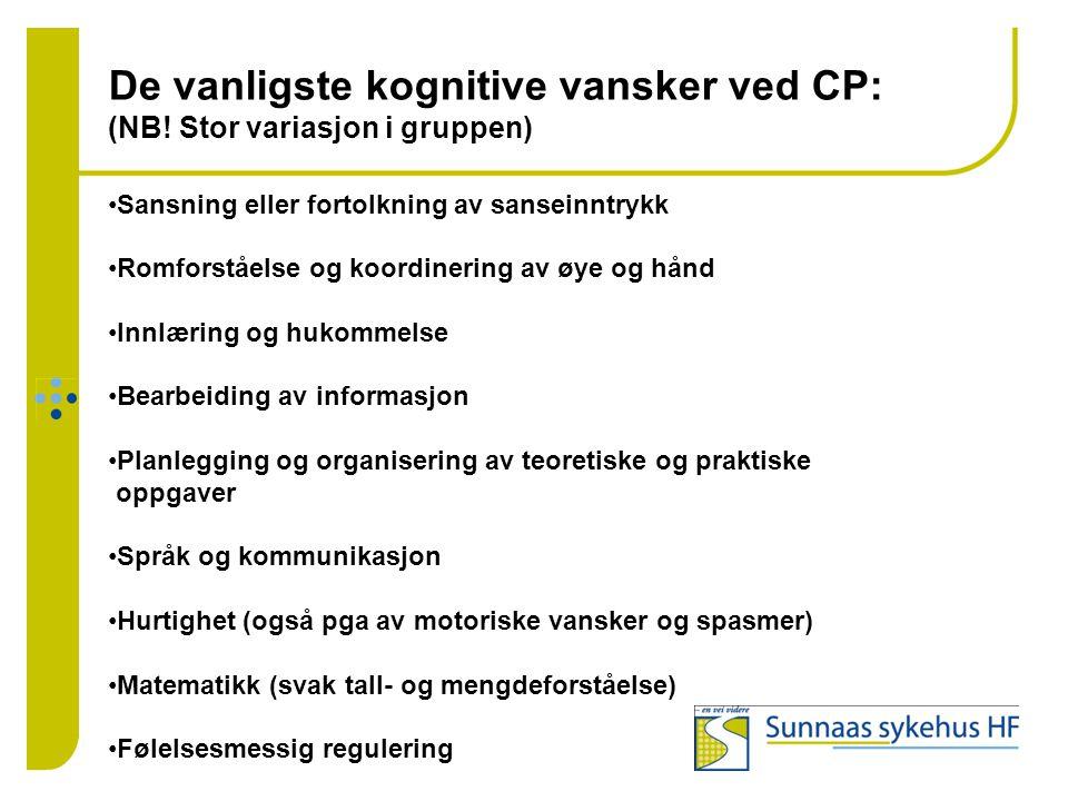 De vanligste kognitive vansker ved CP: (NB! Stor variasjon i gruppen)