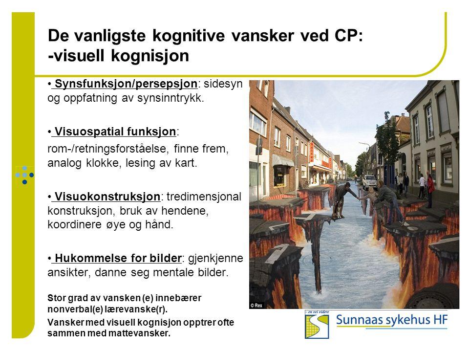 De vanligste kognitive vansker ved CP: -visuell kognisjon