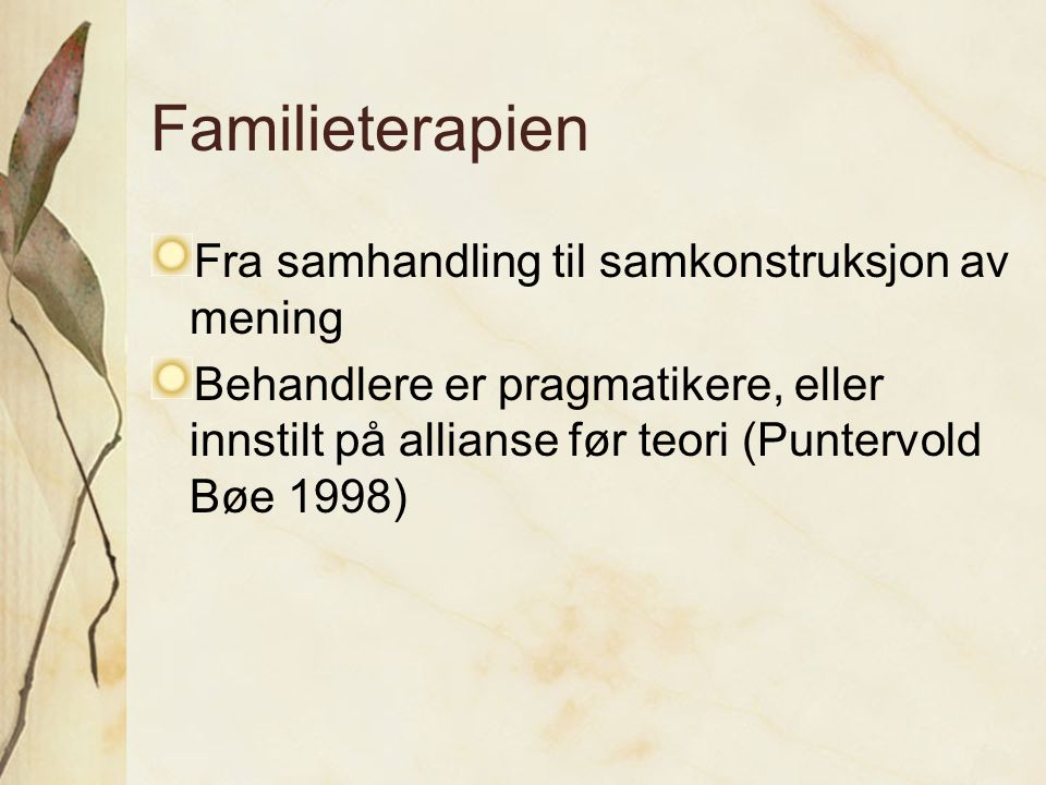 Familieterapien Fra samhandling til samkonstruksjon av mening