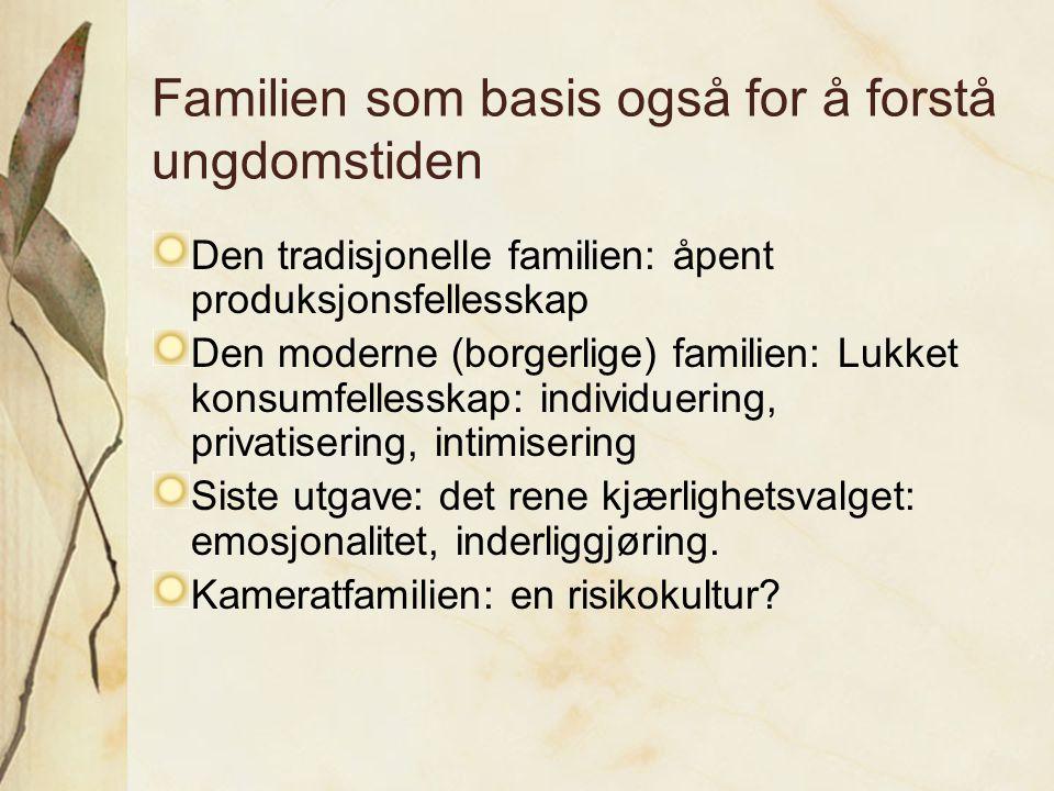 Familien som basis også for å forstå ungdomstiden