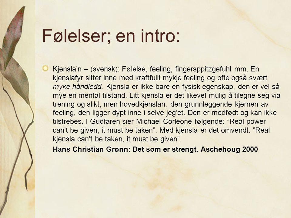 Følelser; en intro: