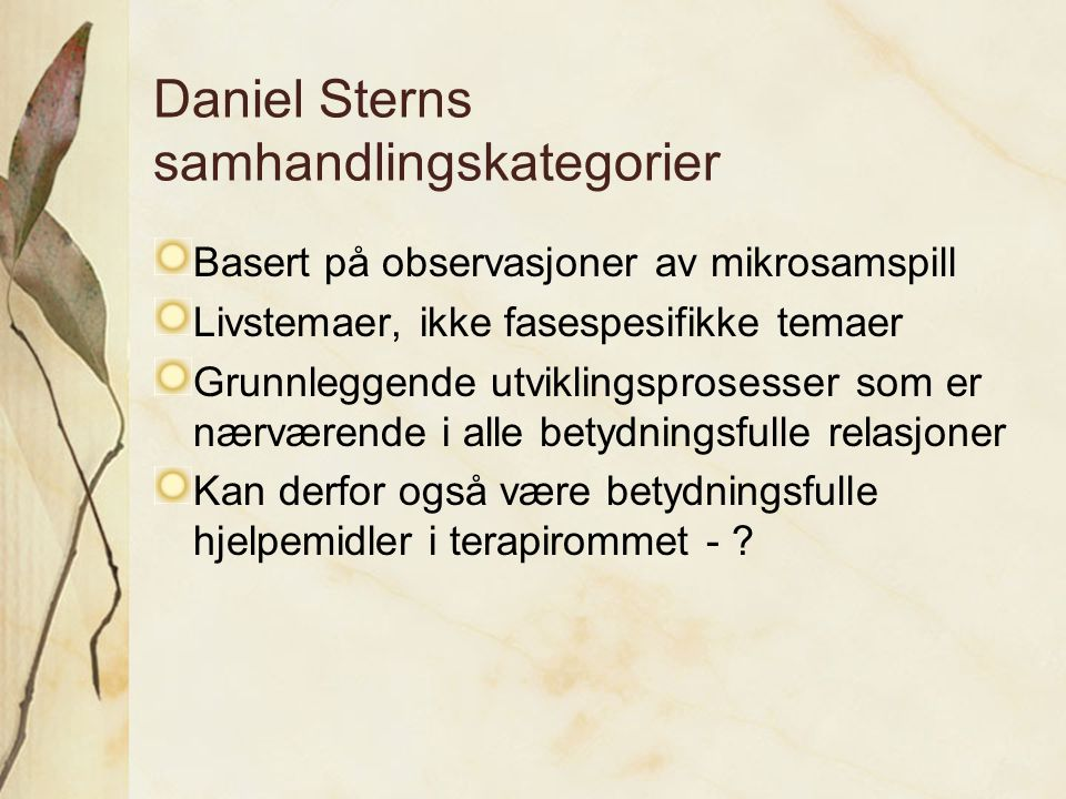 Daniel Sterns samhandlingskategorier