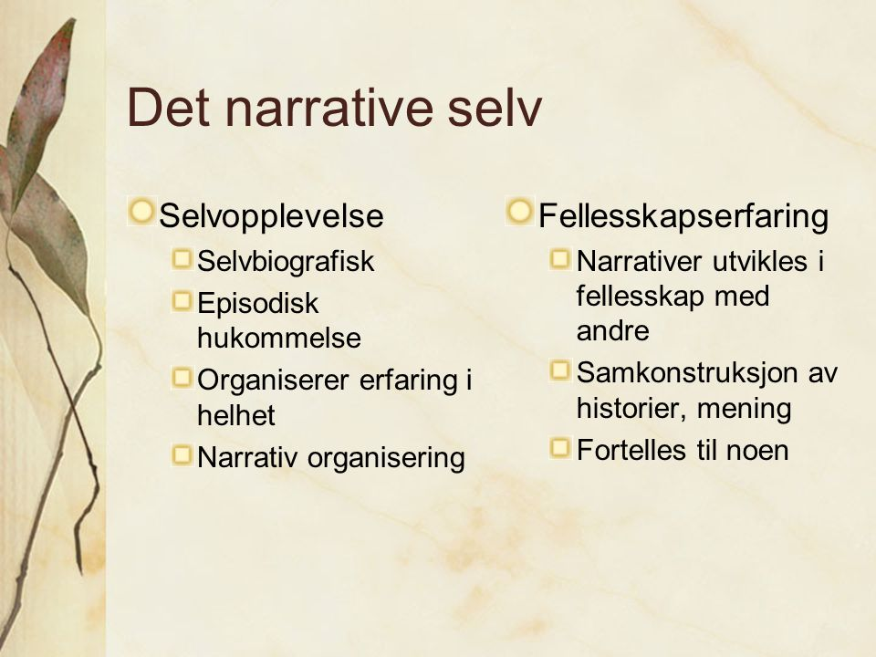 Det narrative selv Selvopplevelse Fellesskapserfaring Selvbiografisk