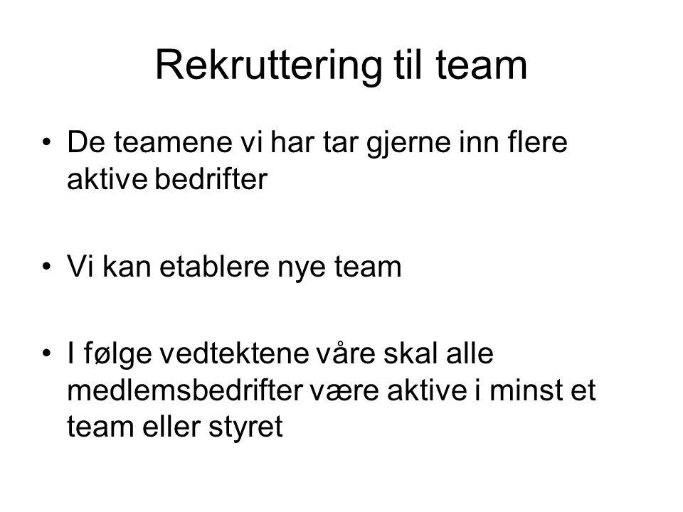 Rekruttering til team De teamene vi har tar gjerne inn flere aktive bedrifter. Vi kan etablere nye team.