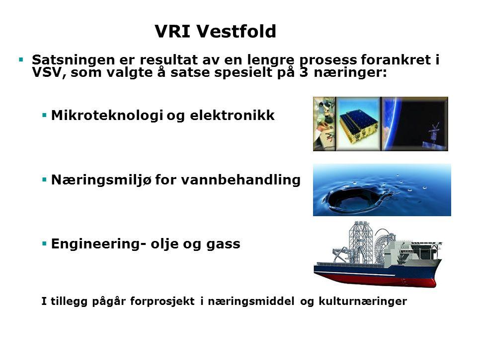 VRI Vestfold Satsningen er resultat av en lengre prosess forankret i VSV, som valgte å satse spesielt på 3 næringer: