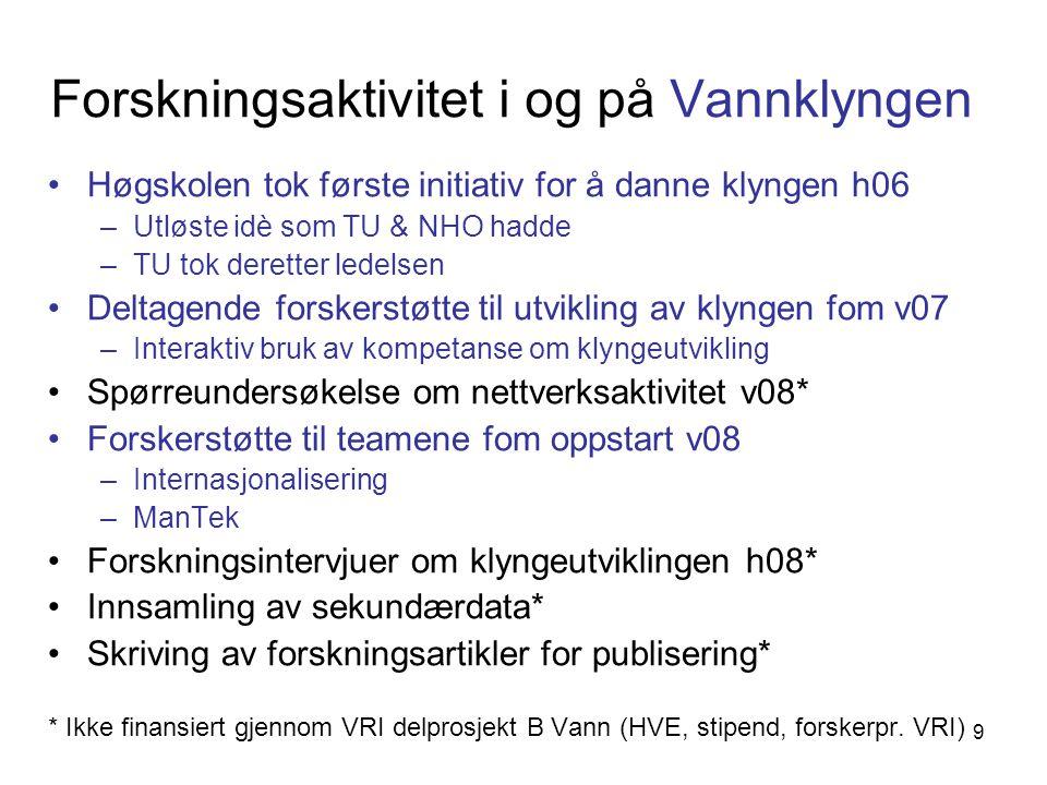 Forskningsaktivitet i og på Vannklyngen