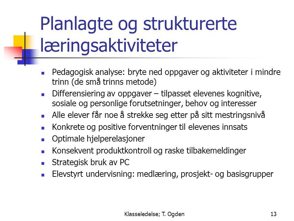 Planlagte og strukturerte læringsaktiviteter
