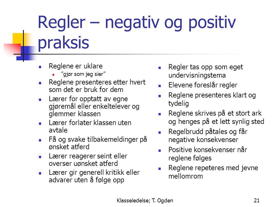 Regler – negativ og positiv praksis