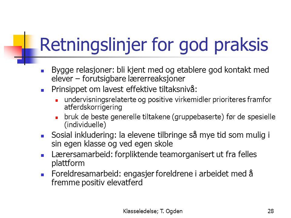 Retningslinjer for god praksis