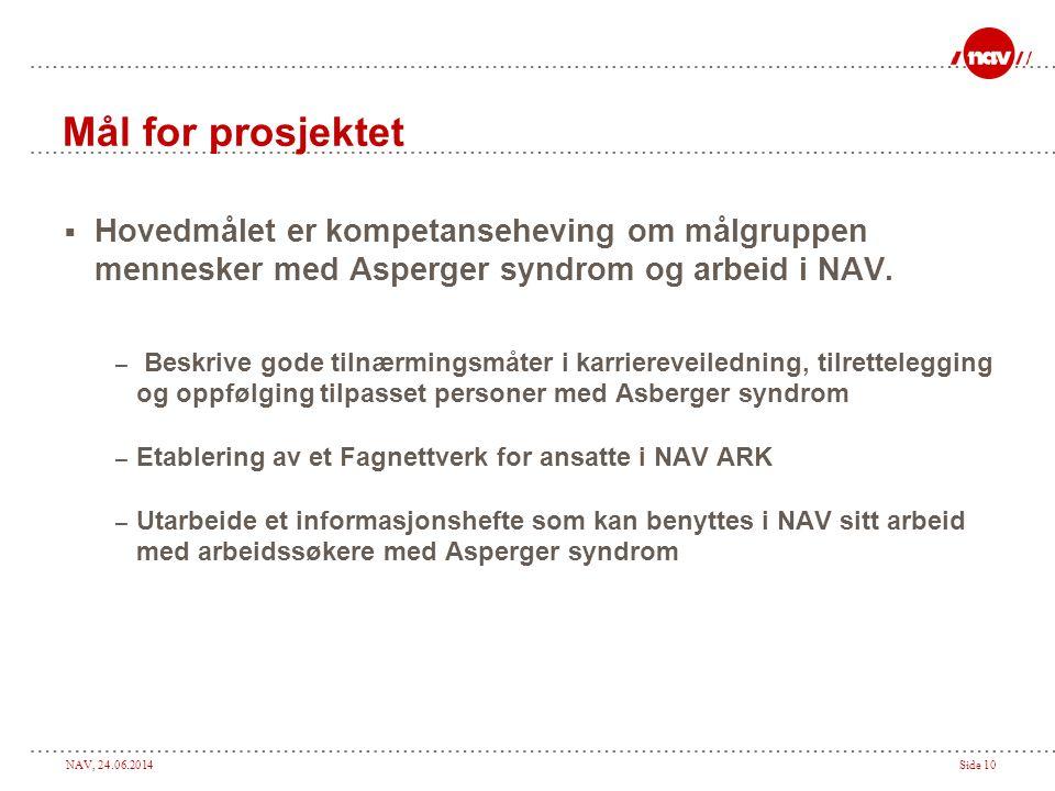 Mål for prosjektet Hovedmålet er kompetanseheving om målgruppen mennesker med Asperger syndrom og arbeid i NAV.