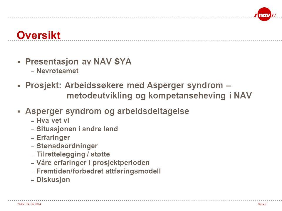 Oversikt Presentasjon av NAV SYA