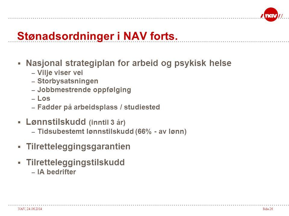 Stønadsordninger i NAV forts.