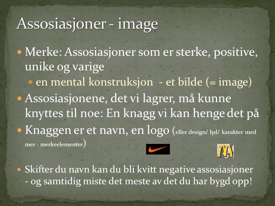 Assosiasjoner - image Merke: Assosiasjoner som er sterke, positive, unike og varige. en mental konstruksjon - et bilde (= image)