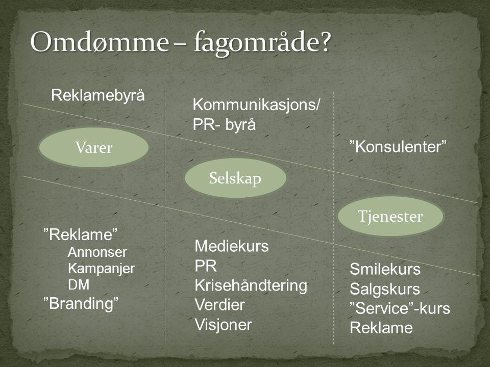 Omdømme – fagområde Reklamebyrå Kommunikasjons/ PR- byrå Varer