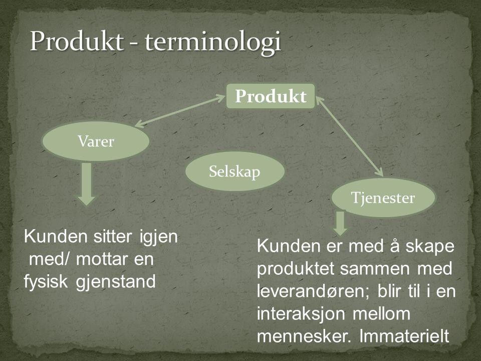 Produkt - terminologi Produkt Kunden sitter igjen