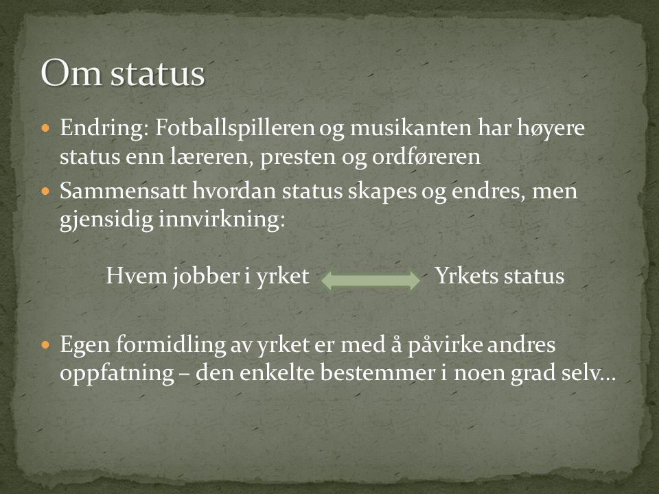 Om status Endring: Fotballspilleren og musikanten har høyere status enn læreren, presten og ordføreren.